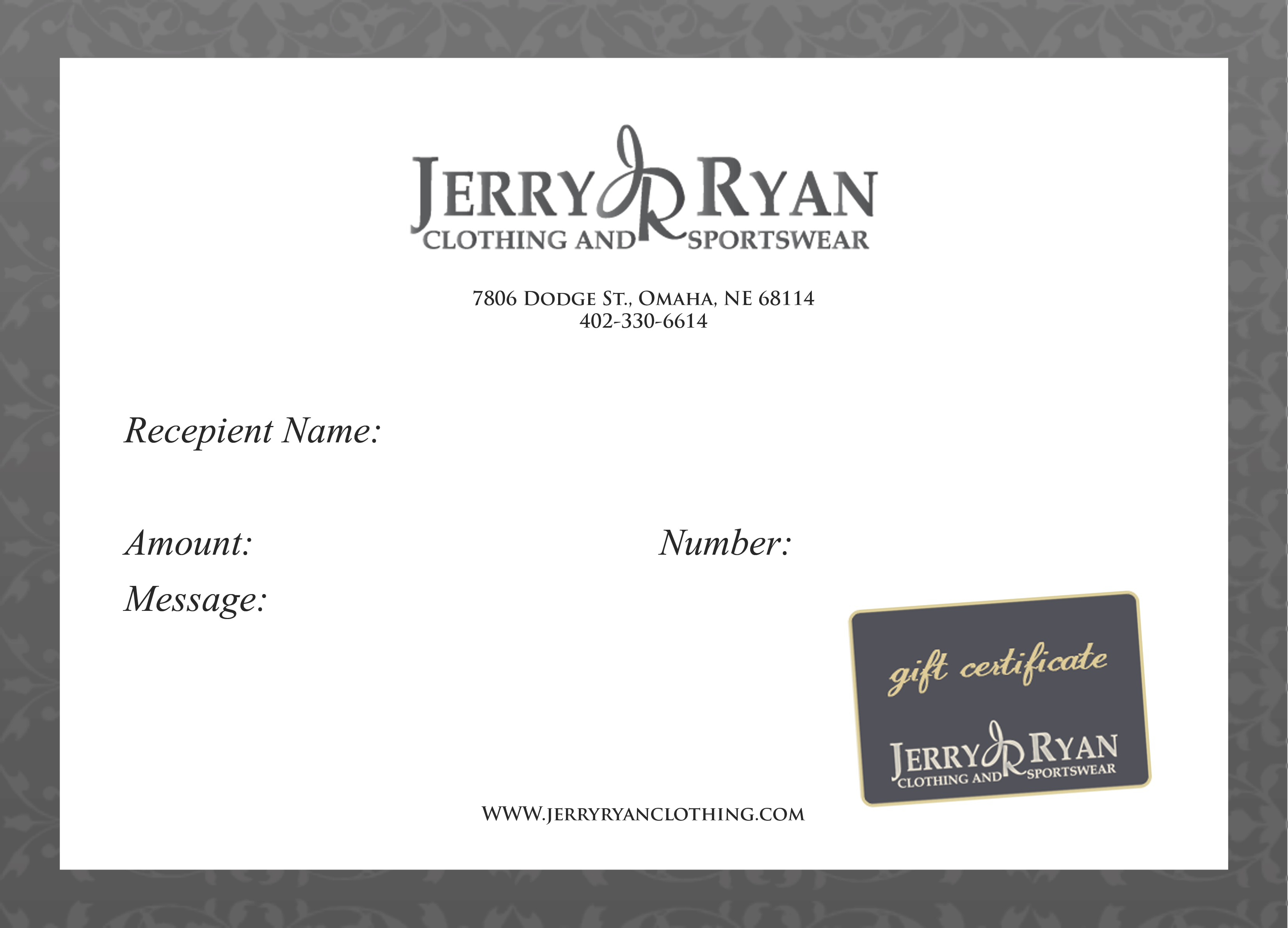 Jerry Ryan Clothing & Sportswear Gift Card - Jerry Ryan Clothing ...